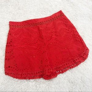 Red topshop high waist shorts lace eyelet size 10